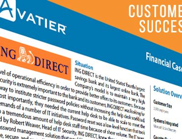 ING DIRECT Realized its Return on Investment With Avatier's Password Station Within Six Months